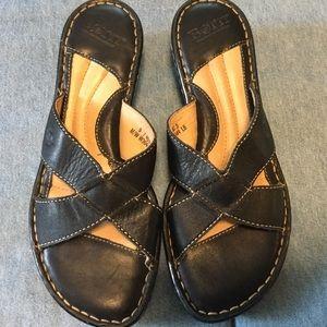 Born Black Leather Sandals, EUC